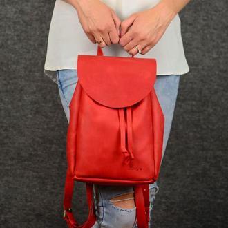 Рюкзак на затяжках с свободным клапаном, Винтажная кожа цвет Красный