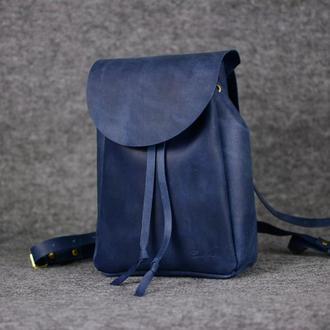 Рюкзак на затяжках с свободным клапаном, Винтажная кожа цвет Синий