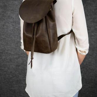 Рюкзак на затяжках с свободным клапаном, Винтажная кожа цвет Шоколад