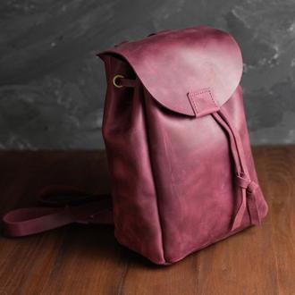 Рюкзак на затяжках с магнитом, размер мини, Винтажная кожа цвет Бордо