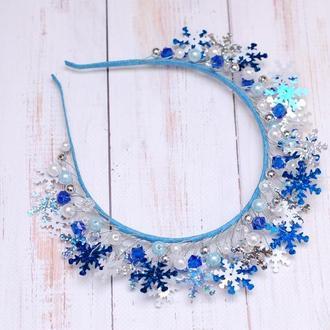Новогодний обруч ободок корона для снежинки, снежной королевы