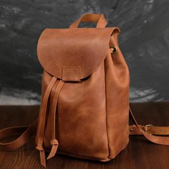 Рюкзак на затяжках с магнитом, размер мини, Винтажная кожа цвет Коньяк