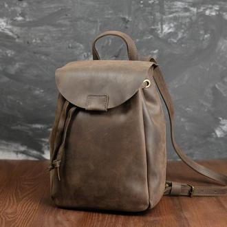 Рюкзак на затяжках с магнитом, размер мини, Винтажная кожа цвет Шоколад