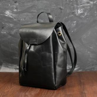 Рюкзак на затяжках с магнитом, размер мини, кожа Краст цвет Черный