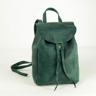 Рюкзак на затяжках с магнитом, размер средний, Винтажная кожа цвет Зеленый
