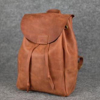 Рюкзак на затяжках с магнитом, размер средний, Винтажная кожа цвет Коньяк