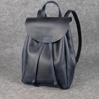 Рюкзак на затяжках с магнитом, размер средний, Винтажная кожа цвет Синий