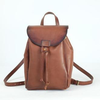 Рюкзак на затяжках с магнитом, размер средний, кожа Краст цвет Коричневый