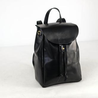 Рюкзак на затяжках с магнитом, размер средний, кожа Краст цвет Черный