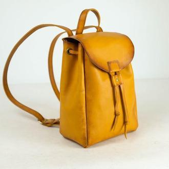 Рюкзак на затяжках с магнитом, размер средний, кожа Краст цвет Янтарь