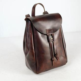 Рюкзак на затяжках с магнитом, размер средний, кожа Краст цвет Вишня