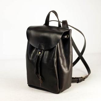 Рюкзак на затяжках с карабином, размер средний кожа Краст цвет черный