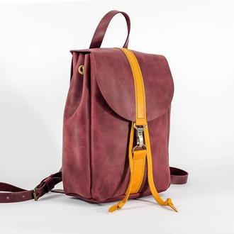 Рюкзак на затяжках с карабином, размер мини, Винтажная кожа цвет Бордо