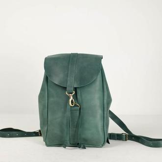 Рюкзак на затяжках с карабином, размер мини, Винтажная кожа цвет Зеленый