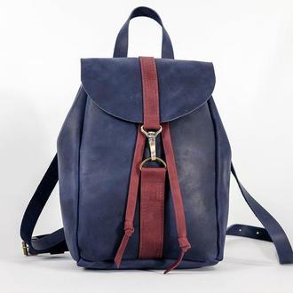 Рюкзак на затяжках с карабином, размер мини, Винтажная кожа цвет Синий
