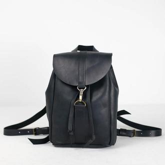Рюкзак на затяжках с карабином, размер мини, Винтажная кожа цвет Черный