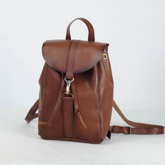 Рюкзак на затяжках с карабином, размер мини, кожа Краст цвет Коричневый