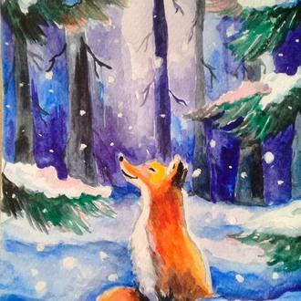 Открытка  живопись зимняя лиса на подарок