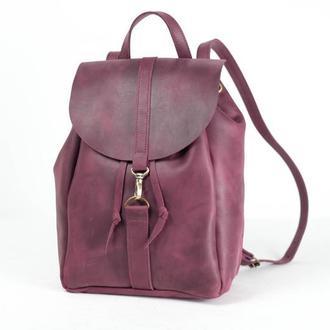 Рюкзак на затяжках с карабином, размер большой, Винтажная кожа цвет бордо