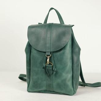 Рюкзак на затяжках с карабином, размер большой, Винтажная кожа цвет зеленый