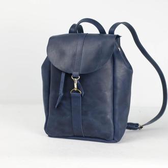 Рюкзак на затяжках с карабином, размер большой, Винтажная кожа цвет синий
