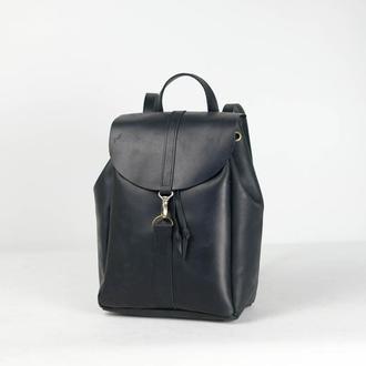 Рюкзак на затяжках с карабином, размер большой, Винтажная кожа цвет черный