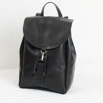 Рюкзак на затяжках с карабином, размер большой, кожа Краст цвет черный