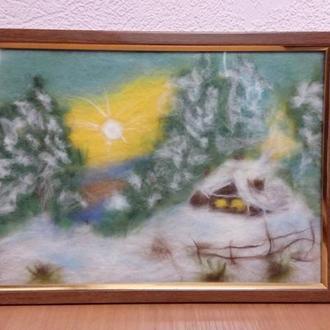 Картина из шерсти. Зимний пейзаж. Домик в лесу. Шерстяная акварель
