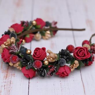 Яркий стильный обруч ободок черно-бордово-золотой