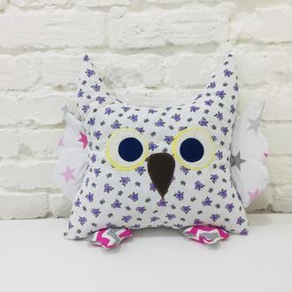 сова подушка-мягкая игрушка для сна-подарки для девочек на день рожденья-декор в детскую