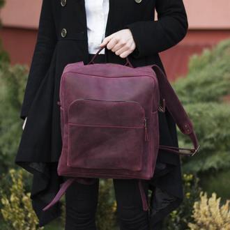 Шкіряний бордовий рюкзак на блискавці
