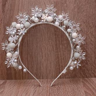 Обруч ободок снежинки, снежной королевы серебристый
