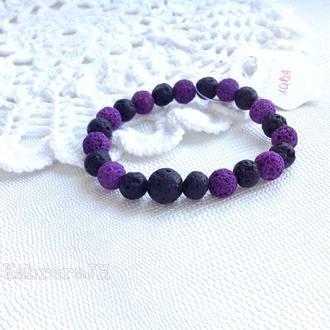 Браслет з лави фіолетово-чорний ,16-17 см