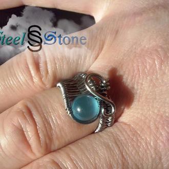 """Кольцо """"Исток"""" с голубым камнем"""