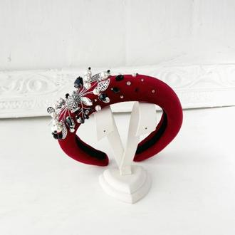 Стильный бархатный обруч Ободок для волос с кристаллами и искусственным жемчугом