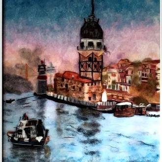 """Картина """"Девичья Башня"""", шерстяная живопись"""