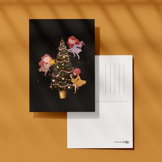 """Новогодняя открытка """"Время наряжать елку"""""""