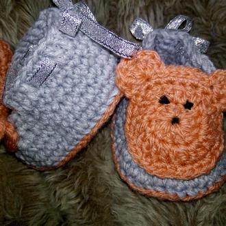 Вязаные пинетки для новорожденной девочки, оригинальный подарок