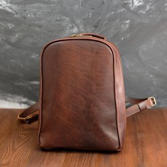 """Кожаный женский рюкзак """"Анталья"""", кожа итальянский краст, цвет вишня"""