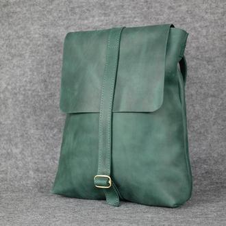 Рюкзак Трансформер Винтажная кожа цвет зеленый
