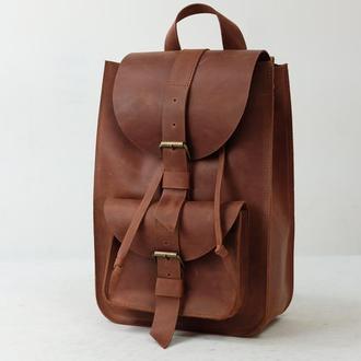 Модель Средний рюкзак, Винтажная кожа цвет коньяк