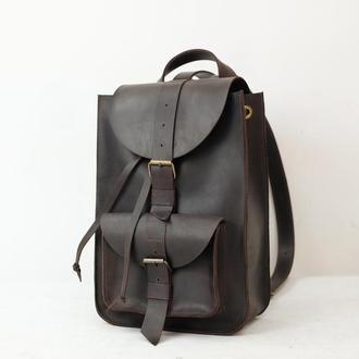Модель Средний рюкзак, Винтажная кожа цвет шоколад