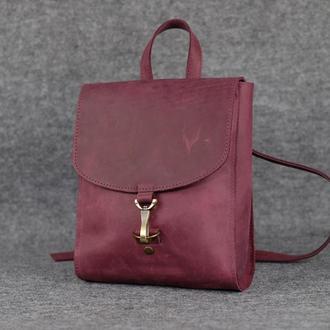 Рюкзак Венеция размер мини, Винтажная кожа цвет бордо