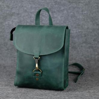 Женский рюкзак Венеция размер мини, винтажная кожа, цвет зеленый