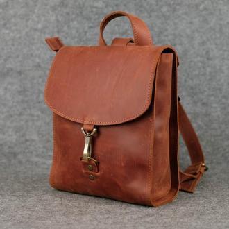 Рюкзак Венеция размер мини, Винтажная кожа цвет коньяк