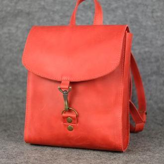 Рюкзак Венеция размер мини, Винтажная кожа цвет красный