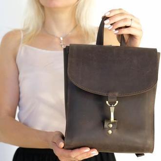 Рюкзак Венеция размер мини, Винтажная кожа цвет шоколад