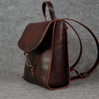 Рюкзак Венеция размер мини, кожа Краст цвет вишня