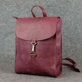 Рюкзак Венеция средний размер, Винтажная кожа цвет бордо