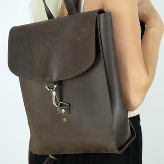 Рюкзак Венеция средний размер, Винтажная кожа цвет шоколад